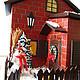 """Кухня ручной работы. Ярмарка Мастеров - ручная работа. Купить Двойной чайный домик с конфетницей """"Зимний вечер"""". Handmade. Разноцветный"""