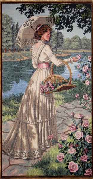Люди, ручной работы. Ярмарка Мастеров - ручная работа. Купить Летняя прогулка. Handmade. Комбинированный, озеро, цветы, Вышивка крестом
