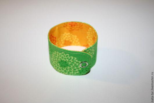 Браслеты ручной работы. Ярмарка Мастеров - ручная работа. Купить Браслет-манжет  Зеленый + желтый с хризантемами. Handmade. Браслет