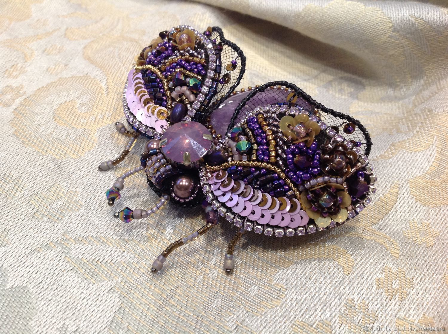 Brooch-pin: A beetle brooch with amethyst, Brooches, Moscow,  Фото №1
