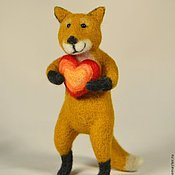 Felted Toy handmade. Livemaster - original item Felt toy Fox heart. Handmade.