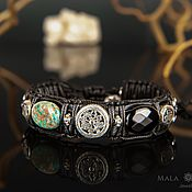 Украшения handmade. Livemaster - original item Wheel of Samsara Leather Bracelet made of stone and leather, inserts 925 Silver. Handmade.