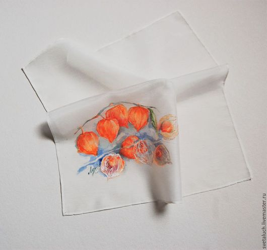 Носовые платочки ручной работы. Ярмарка Мастеров - ручная работа. Купить Хрупкие фонарики.... Handmade. Разноцветный, физалис, рыжий, сувенир