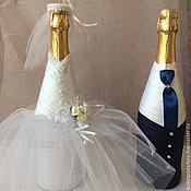 """Бутылки ручной работы. Ярмарка Мастеров - ручная работа Оформление свадебных бутылок """"Шарм"""". Handmade."""