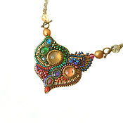 Сувениры и подарки handmade. Livemaster - original item Necklace Rainbow heart Citrine, aquamarine, amethyst, ruby. Handmade.