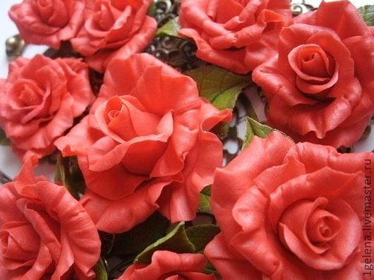 Комплекты украшений ручной работы. Ярмарка Мастеров - ручная работа. Купить комплект украшений Розы. Handmade. Ярко-красный, колье