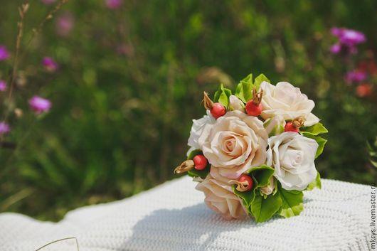 Букеты ручной работы. Ярмарка Мастеров - ручная работа. Купить Букет из пышных роз. Handmade. Белый, Холодный фарфор