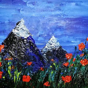 Картины и панно ручной работы. Ярмарка Мастеров - ручная работа Маки и горы. Handmade.