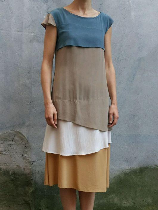 Платья ручной работы. Ярмарка Мастеров - ручная работа. Купить шелковое слоеное платье небо. Handmade. Шелковое платье