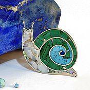 Украшения handmade. Livemaster - original item Brooch Snail. Malachite, Turquoise, Mother Of Pearl.. Handmade.