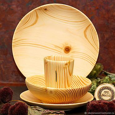 Посуда ручной работы. Ярмарка Мастеров - ручная работа Набор Деревянной Посуды (3 тарелки + стакан) Сибирская Пихта #TN35. Handmade.