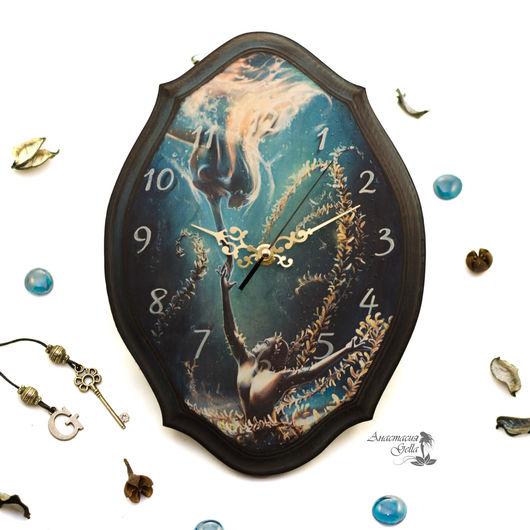 """Часы для дома ручной работы. Ярмарка Мастеров - ручная работа. Купить Настенные часы """"Позови меня"""". Handmade. Тёмно-синий"""