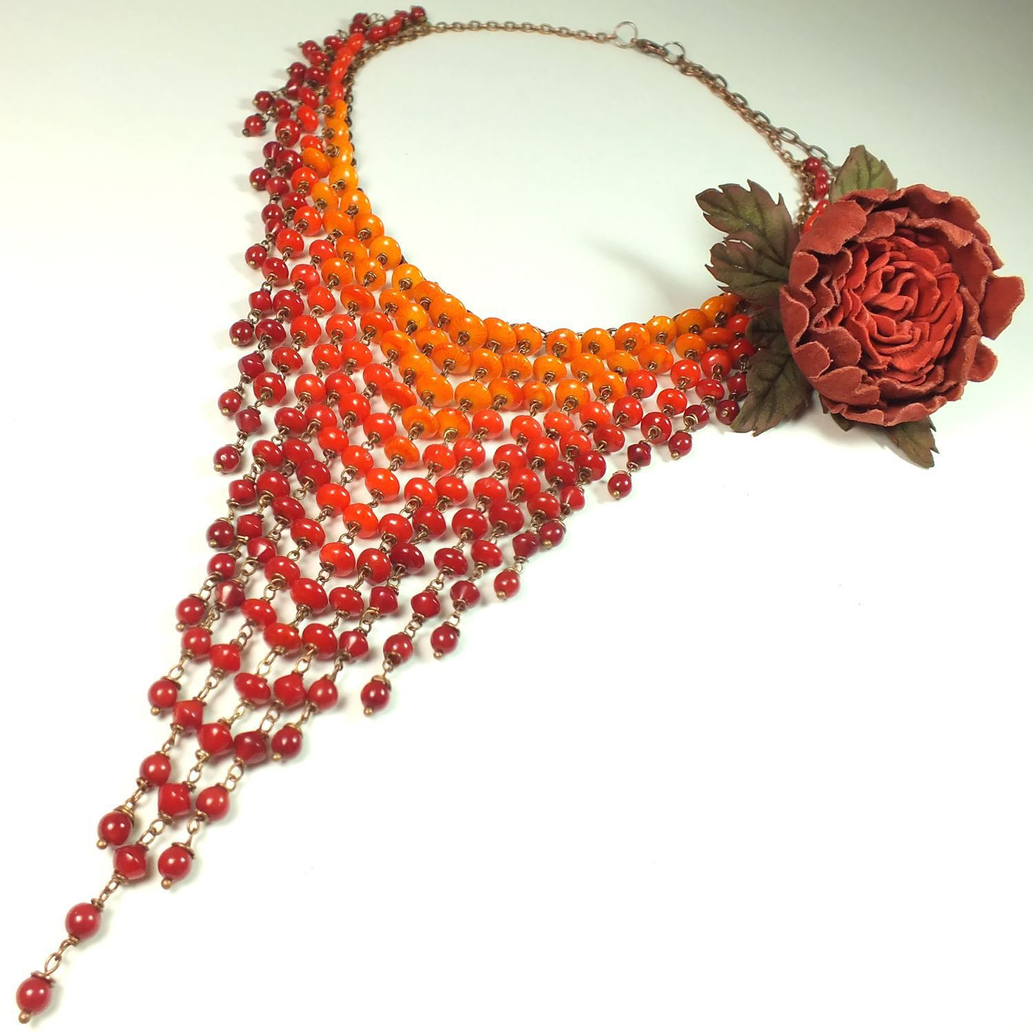Flaming Rainbow. Coral necklace and brooch from the skin, Jewelry Sets, St. Petersburg,  Фото №1