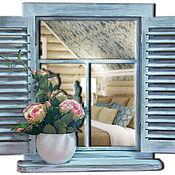 Для дома и интерьера ручной работы. Ярмарка Мастеров - ручная работа Интерьерное панно-зеркало Окно со ставнями в стиле прованс. Handmade.