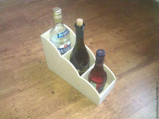 Интересное решение для оформления вашего уголка на кухне! Подставка под 3 бутылки. Может быть использована как заготовка для росписи и де купажа.