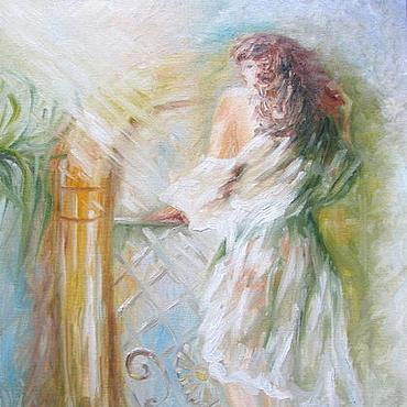 Картины и панно ручной работы. Ярмарка Мастеров - ручная работа Картина маслом девушка Освещенная солнцем. Handmade.