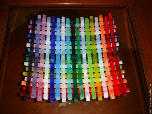 """Тарелки ручной работы. Ярмарка Мастеров - ручная работа. Купить тарелка """" Цветное плетение"""". Handmade. Стекло, подарки"""