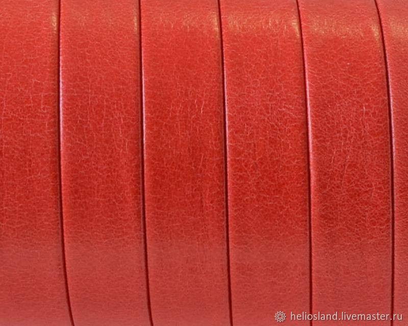 Кожаный шнур плоский 10 мм, красный, премиум, Шнуры, Москва,  Фото №1