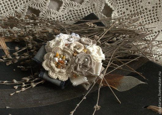 """Броши ручной работы. Ярмарка Мастеров - ручная работа. Купить Брошь """"Прованс"""".. Handmade. Серый, брошь в форме цветка"""