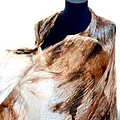 Аксессуары ручной работы. Ярмарка Мастеров - ручная работа коричнево карамельно бежевый женский шелковый шарф палантин. Handmade.