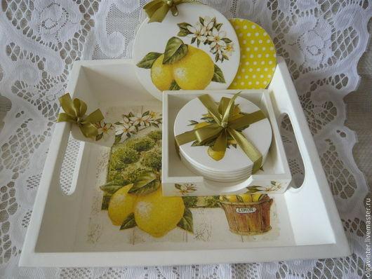 """Кухня ручной работы. Ярмарка Мастеров - ручная работа. Купить Набор для кухни """"Чай с лимоном"""". Handmade. Белый, цветы"""