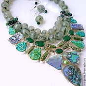 Украшения handmade. Livemaster - original item NECKLACE 3 strands EARRINGS - PREHNITE, BIWA, ABALON, DRUZE beads.. Handmade.