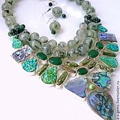 handmade. Livemaster - original item NECKLACE 3 strands EARRINGS - PREHNITE, BIWA, ABALON, DRUZE beads.. Handmade.