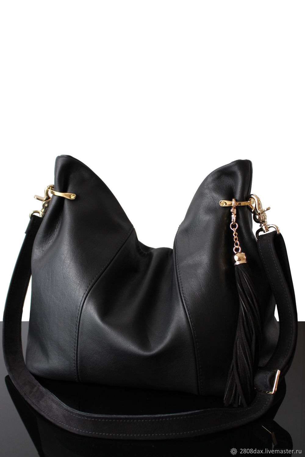 Granville Black leather hobo bag with a long strap, Classic Bag, Bordeaux,  Фото №1