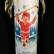 Бутылки ручной работы. Ярмарка Мастеров - ручная работа Хоккеист, Новогоднее поздравление. Handmade.