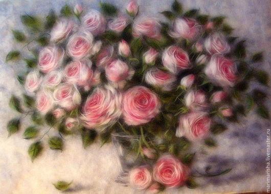 """Картины цветов ручной работы. Ярмарка Мастеров - ручная работа. Купить Картина из шерсти """"Розовый букет"""". Handmade. Искусство, розовый"""