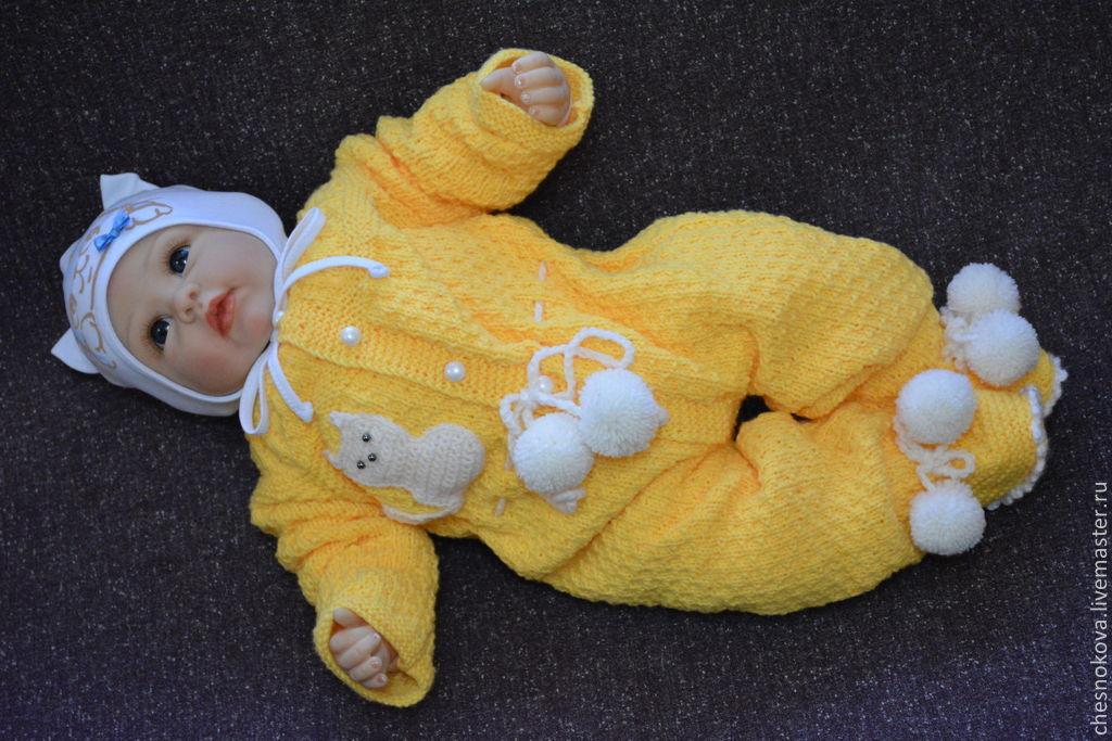 """Купить вязанный комбинезон для новорожденного """"котик"""" - желт."""