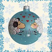 """Подарки к праздникам ручной работы. Ярмарка Мастеров - ручная работа Елочный шар """"Влюблённые овечки"""". Handmade."""