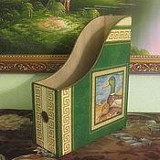 Для дома и интерьера ручной работы. Ярмарка Мастеров - ручная работа Вертикальный накопитель для бумаг - Журнальница зеленая На озере. Handmade.
