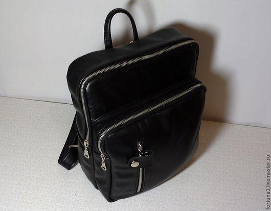 Рюкзаки ручной работы. Ярмарка Мастеров - ручная работа. Купить Рюкзак кожаный городской 24. Handmade. Черный, рюкзак городской