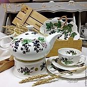 Посуда handmade. Livemaster - original item The painted porcelain.The tea pot blackcurrant. Handmade.
