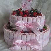 Букеты ручной работы. Ярмарка Мастеров - ручная работа Торт-шкатулка из конфет. Handmade.