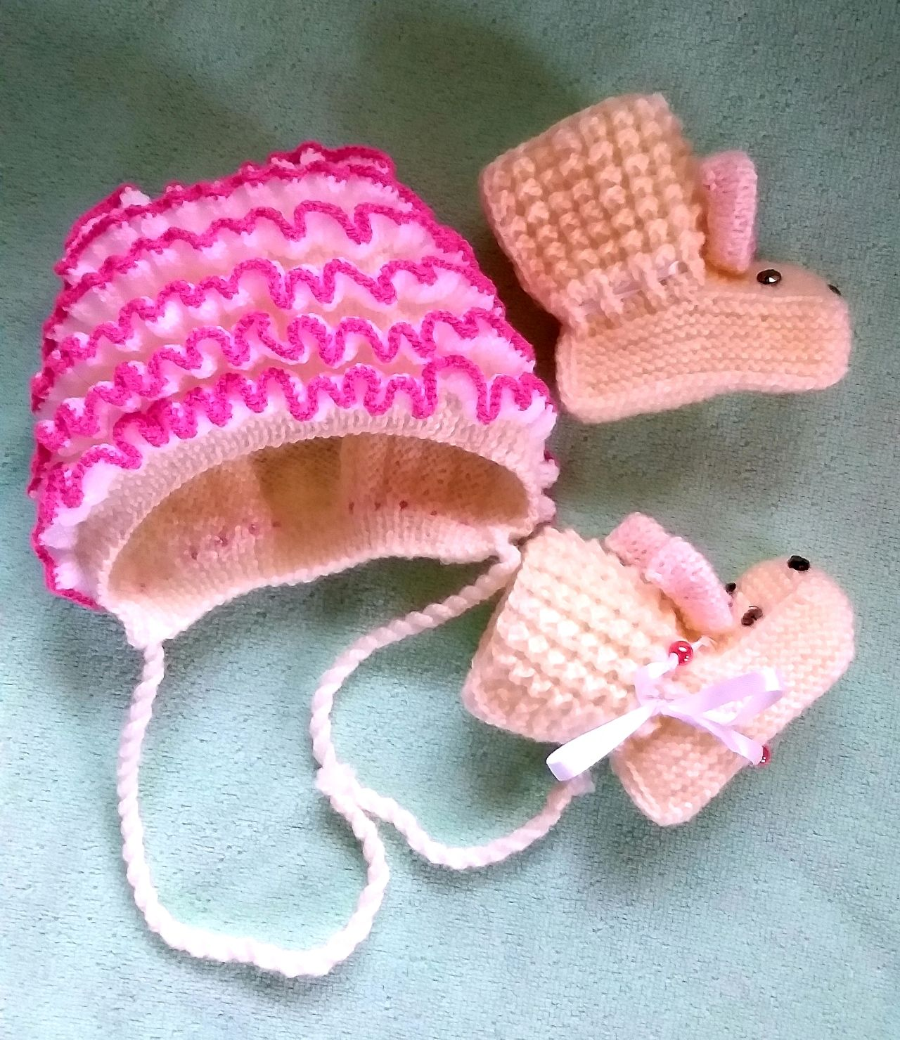 Комплект для новорождённого шапка + пинетки Нежность, Комплект из шарфа и шапки, Советск,  Фото №1