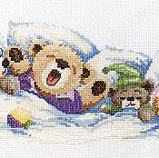 """Картины и панно ручной работы. Ярмарка Мастеров - ручная работа Вышивка """"Спящие мишки"""" (готовая работа). Handmade."""