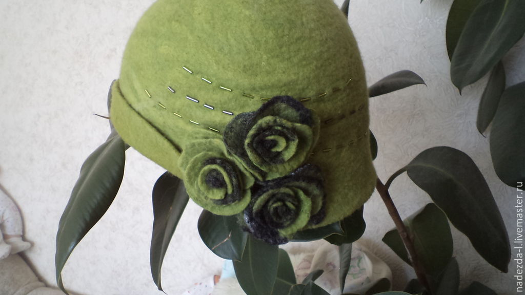 Felted hat ' Favorite greens..!', Hats1, Belovo,  Фото №1