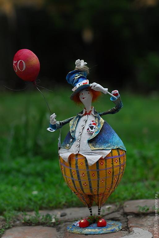 Коллекционные куклы ручной работы. Ярмарка Мастеров - ручная работа. Купить Клоун Василий.. Handmade. Клоун, папье-маше