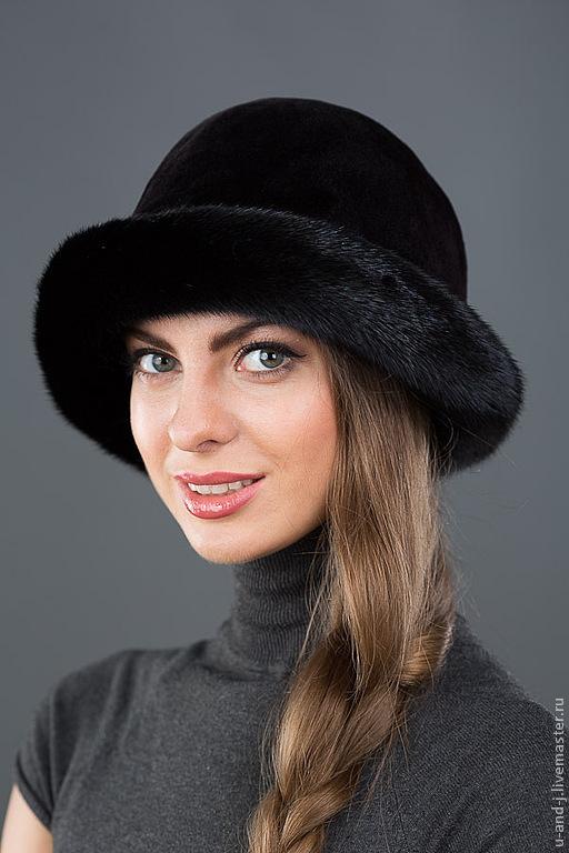Шапки ручной работы. Ярмарка Мастеров - ручная работа. Купить Шляпа из норки(№1). Handmade. Черный, меховая шапка, головной убор