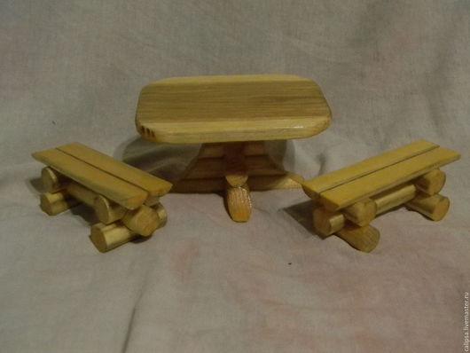 Кукольный дом ручной работы. Ярмарка Мастеров - ручная работа. Купить Мебель кукольная стол и скамейки. Handmade. Белый, для кукол