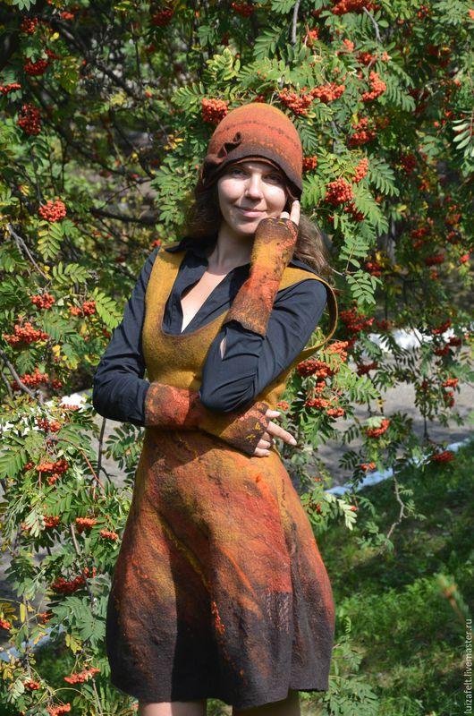Шляпы ручной работы. Ярмарка Мастеров - ручная работа. Купить Шляпка валяная Рябиновый цвет. Handmade. Рыжий, шляпа войлочная