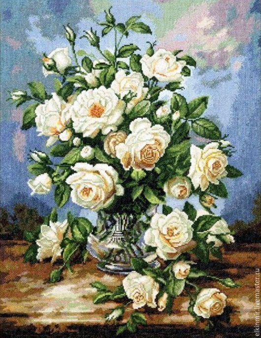 """Пейзаж ручной работы. Ярмарка Мастеров - ручная работа. Купить Вышивка крестом """"Букет белых роз"""". Handmade. Разноцветный, розы"""