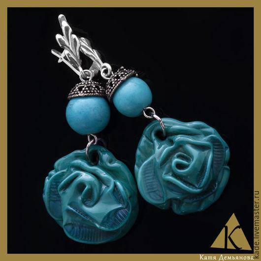 """Серьги ручной работы. Ярмарка Мастеров - ручная работа. Купить Серьги """"Голубая роза"""". Handmade. Тёмно-бирюзовый, голубые розы"""