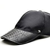 Аксессуары handmade. Livemaster - original item Baseball caps made of genuine Python leather and raincoat fabric.. Handmade.