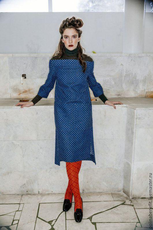 Платья ручной работы. Ярмарка Мастеров - ручная работа. Купить Платье с открытыми плечами из перфарированной джинсы. Handmade. Платье