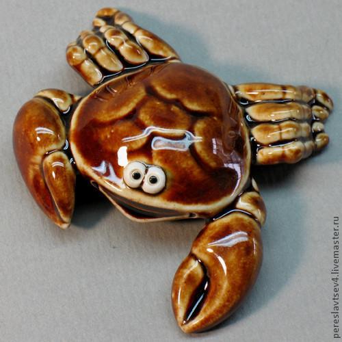 Миниатюра ручной работы. Ярмарка Мастеров - ручная работа. Купить Краб. Handmade. Краб, глина, фаянс, краб керамический