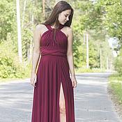 Одежда ручной работы. Ярмарка Мастеров - ручная работа Платье-трансформер с разрезом, Марсала платья для подружек невесты. Handmade.