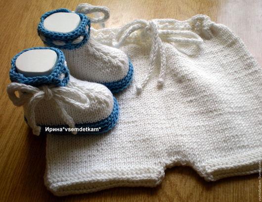 """Для новорожденных, ручной работы. Ярмарка Мастеров - ручная работа. Купить Комплект вязаный """"Бело-голубой"""". Handmade. Комбинированный, для новорожденных"""